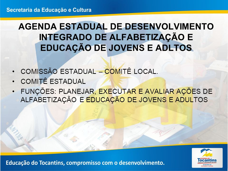 AGENDA ESTADUAL DE DESENVOLVIMENTO INTEGRADO DE ALFABETIZAÇÃO E EDUCAÇÃO DE JOVENS E ADLTOS