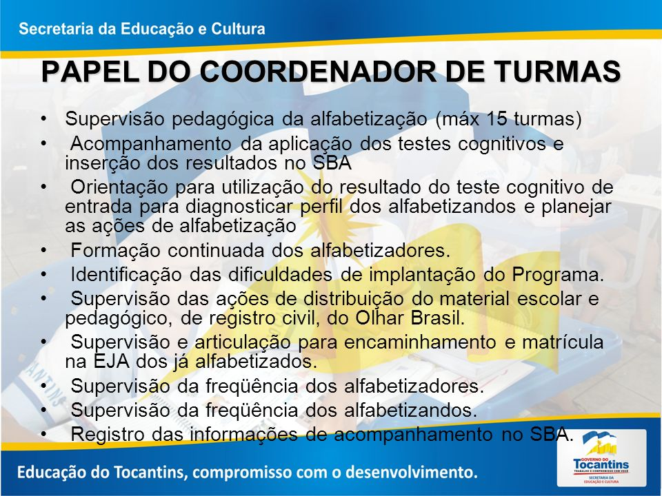 PAPEL DO COORDENADOR DE TURMAS