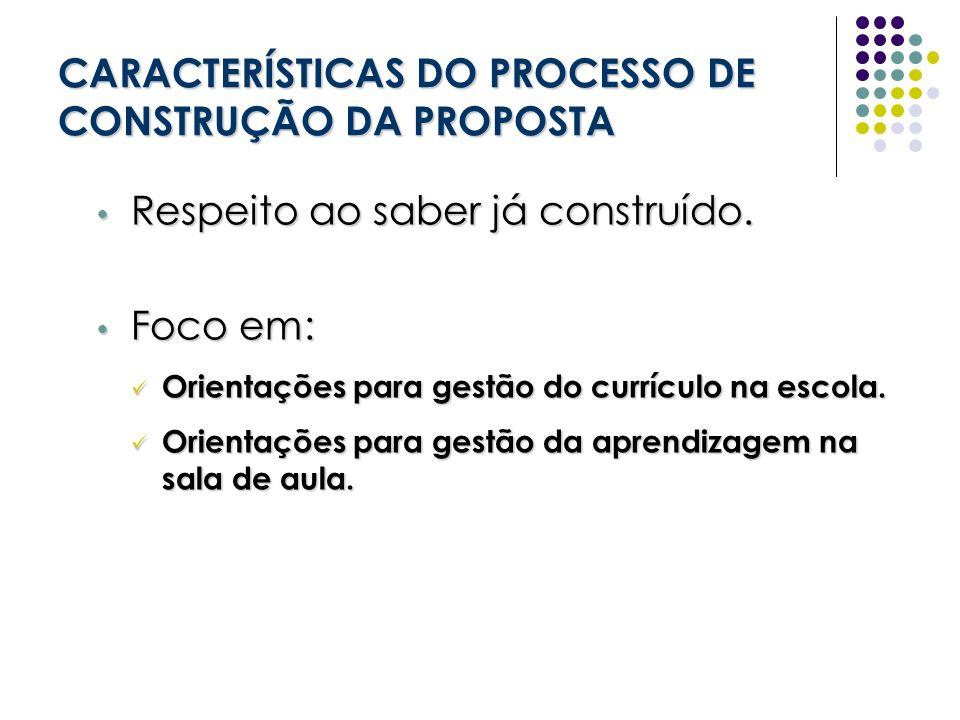 CARACTERÍSTICAS DO PROCESSO DE CONSTRUÇÃO DA PROPOSTA