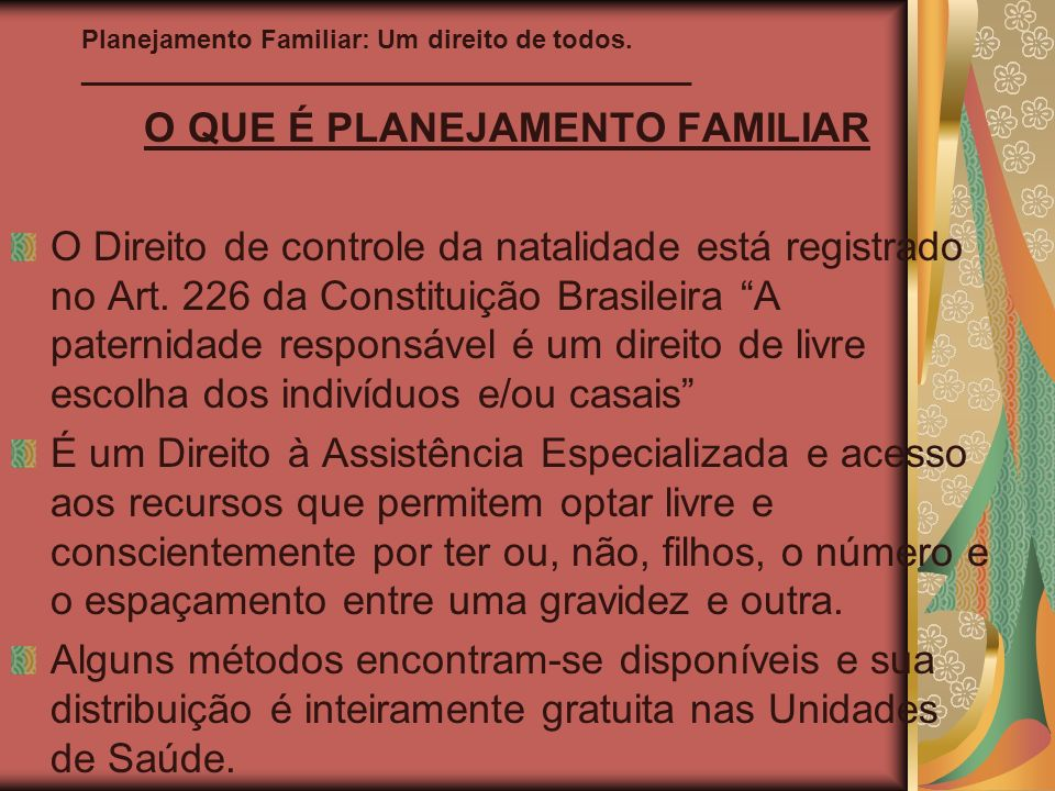 O QUE É PLANEJAMENTO FAMILIAR