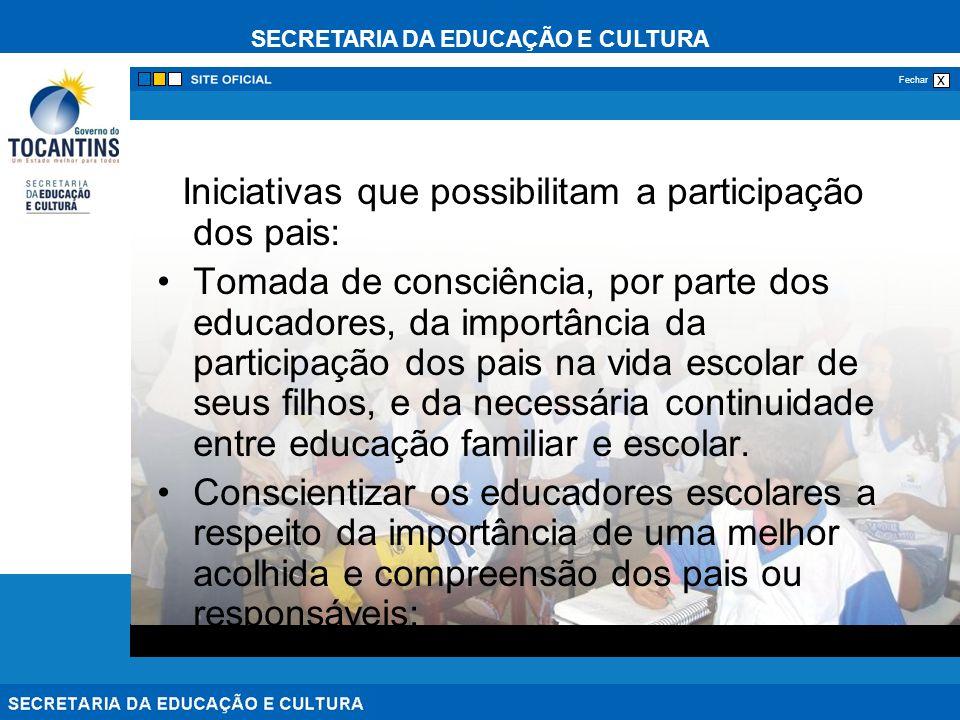 Iniciativas que possibilitam a participação dos pais: