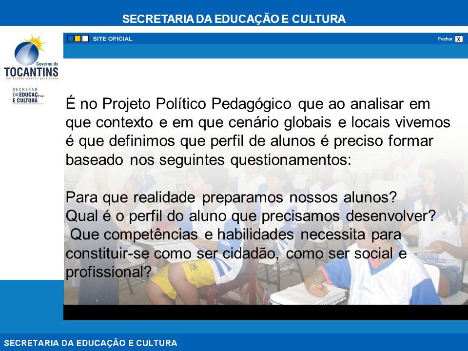 É no Projeto Político Pedagógico que ao analisar em que contexto e em que cenário globais e locais vivemos é que definimos que perfil de alunos é preciso formar baseado nos seguintes questionamentos: