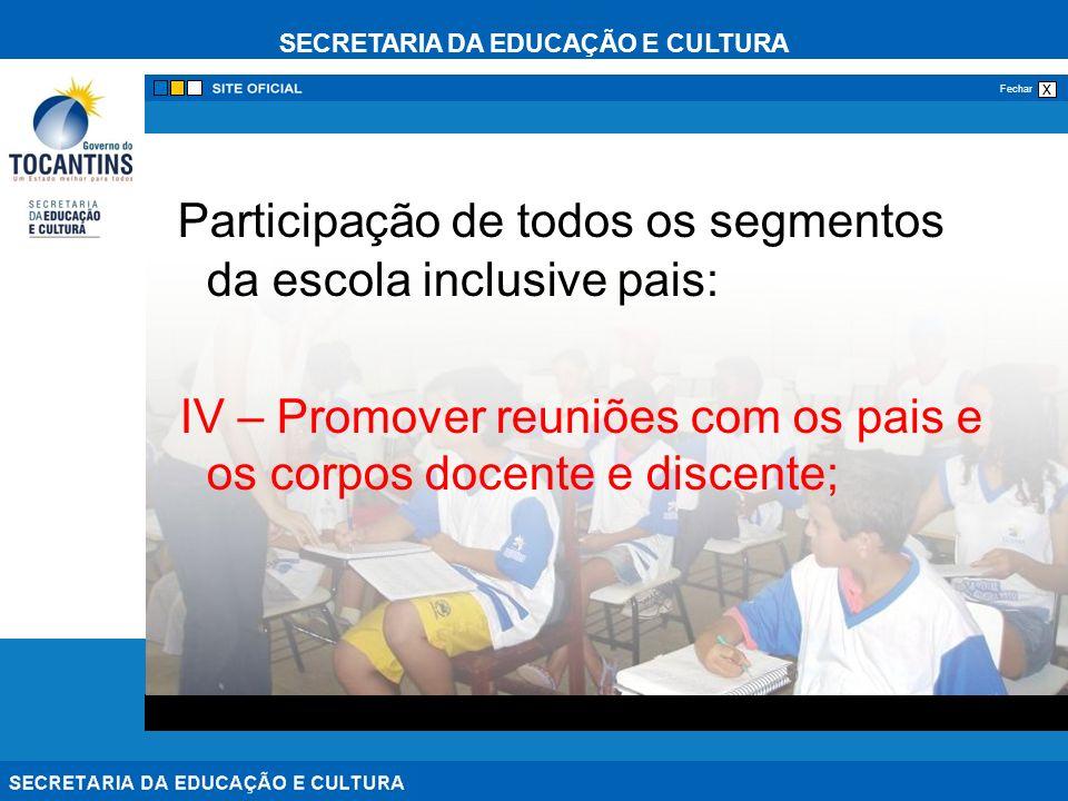 Participação de todos os segmentos da escola inclusive pais: