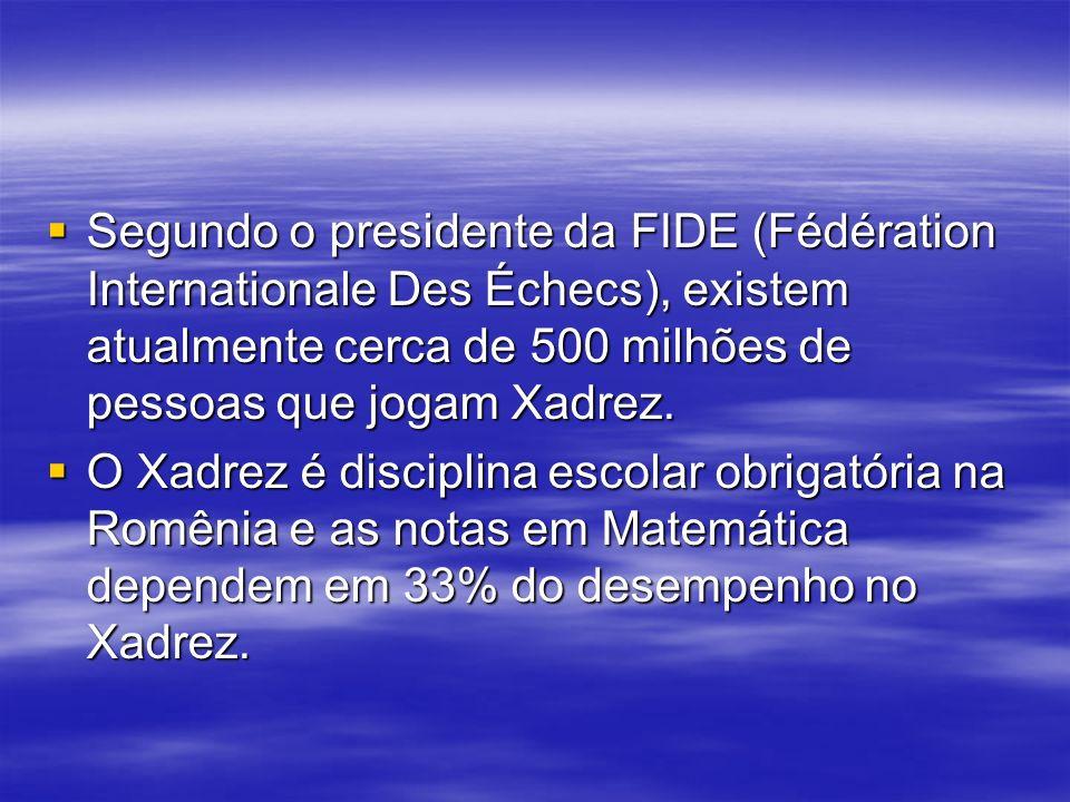 Segundo o presidente da FIDE (Fédération Internationale Des Échecs), existem atualmente cerca de 500 milhões de pessoas que jogam Xadrez.
