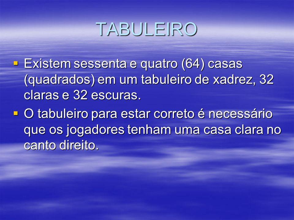 TABULEIRO Existem sessenta e quatro (64) casas (quadrados) em um tabuleiro de xadrez, 32 claras e 32 escuras.
