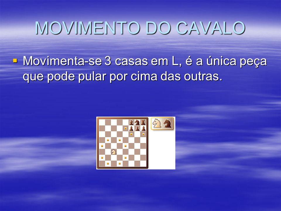MOVIMENTO DO CAVALO Movimenta-se 3 casas em L, é a única peça que pode pular por cima das outras.
