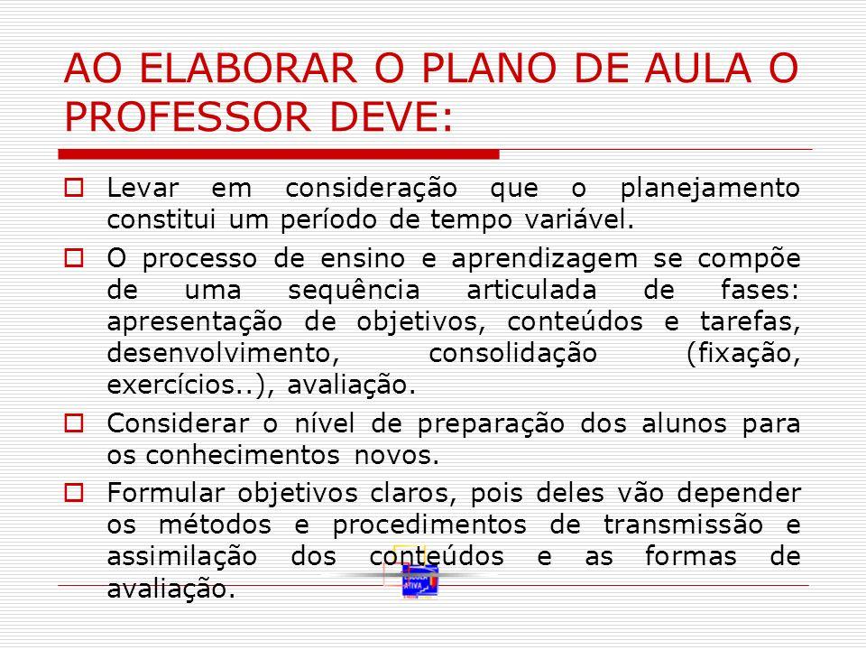 AO ELABORAR O PLANO DE AULA O PROFESSOR DEVE: