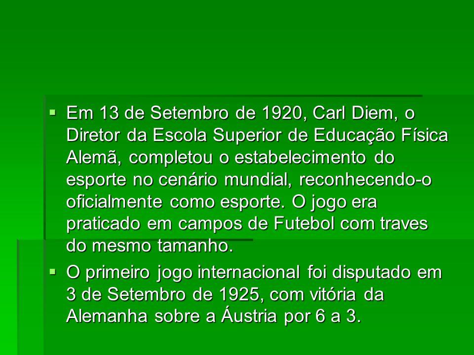 Em 13 de Setembro de 1920, Carl Diem, o Diretor da Escola Superior de Educação Física Alemã, completou o estabelecimento do esporte no cenário mundial, reconhecendo-o oficialmente como esporte. O jogo era praticado em campos de Futebol com traves do mesmo tamanho.