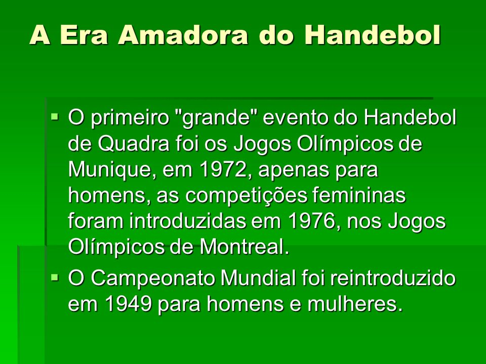 A Era Amadora do Handebol