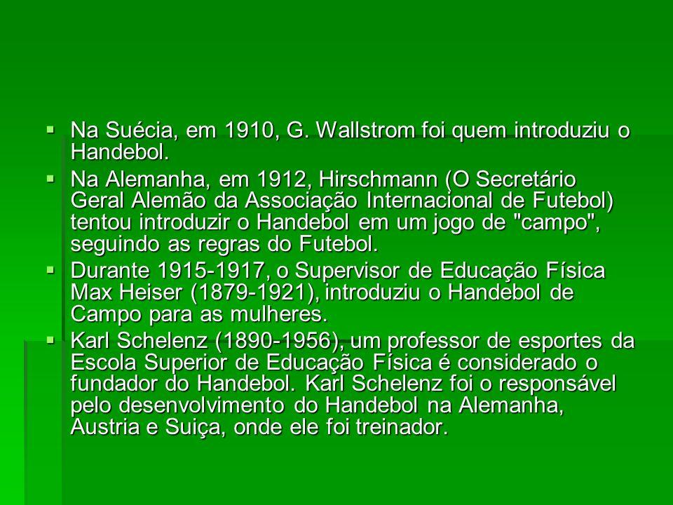 Na Suécia, em 1910, G. Wallstrom foi quem introduziu o Handebol.