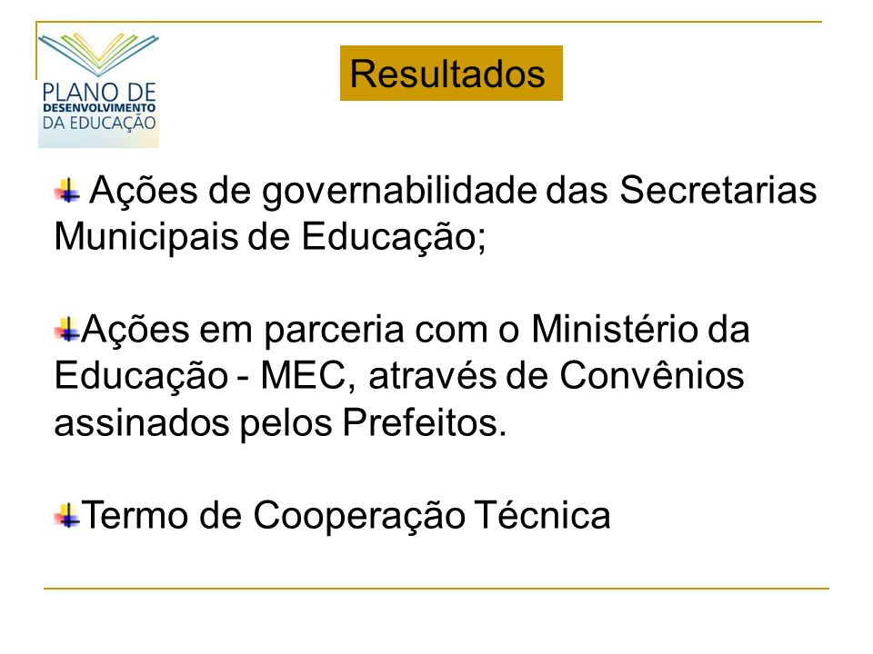 Resultados Ações de governabilidade das Secretarias Municipais de Educação;