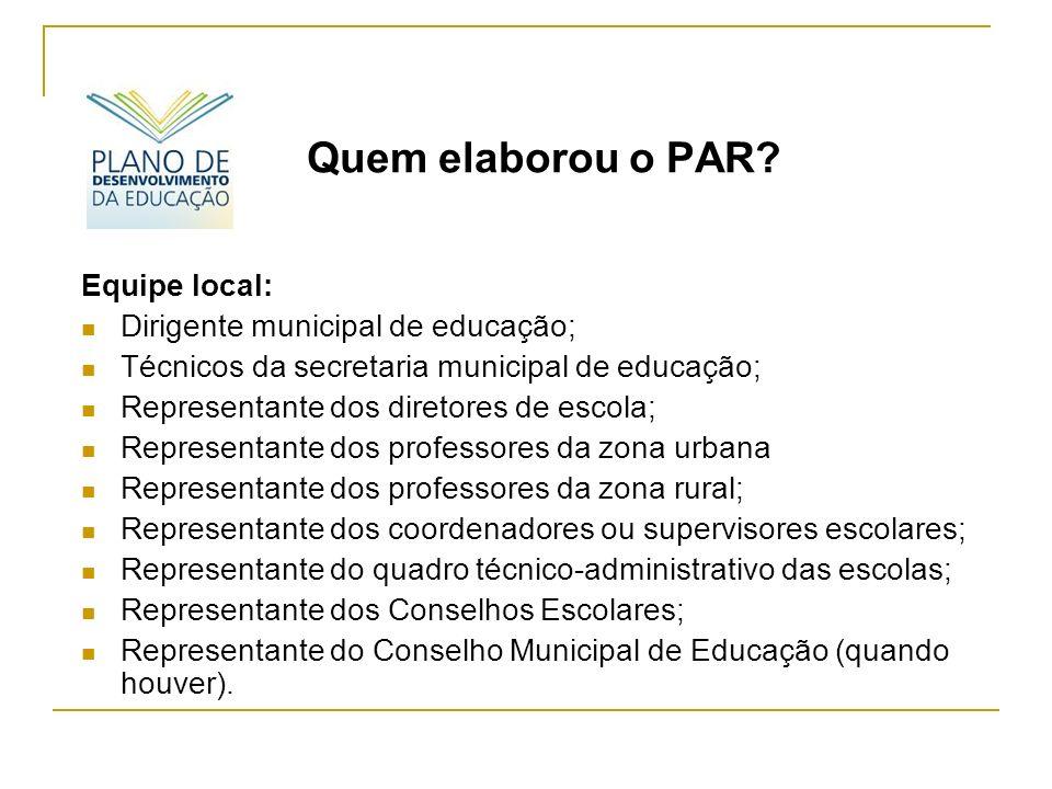 Quem elaborou o PAR Equipe local: Dirigente municipal de educação;