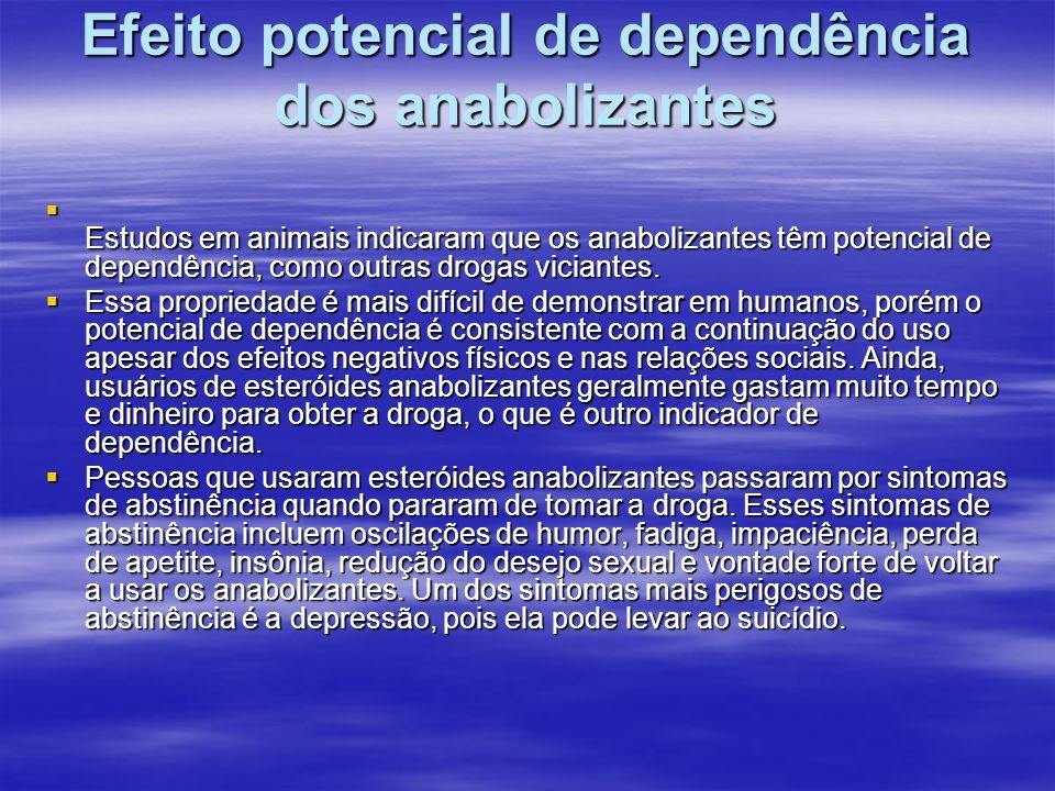 Efeito potencial de dependência dos anabolizantes