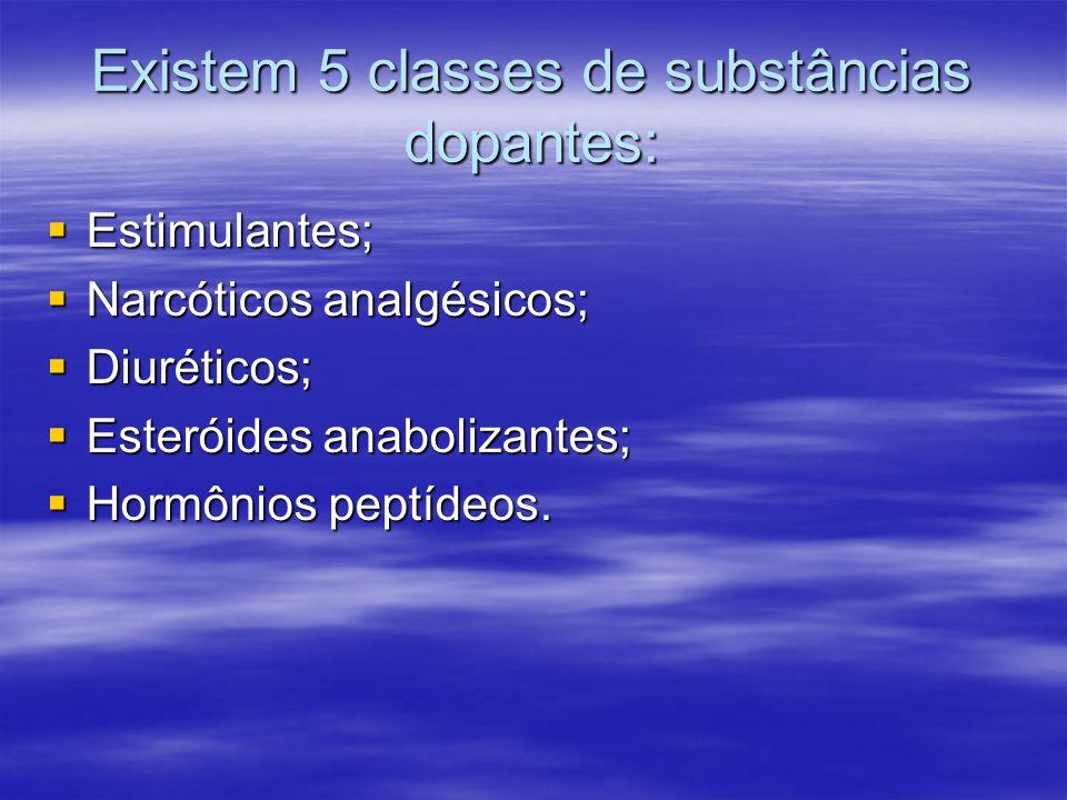 Existem 5 classes de substâncias dopantes: