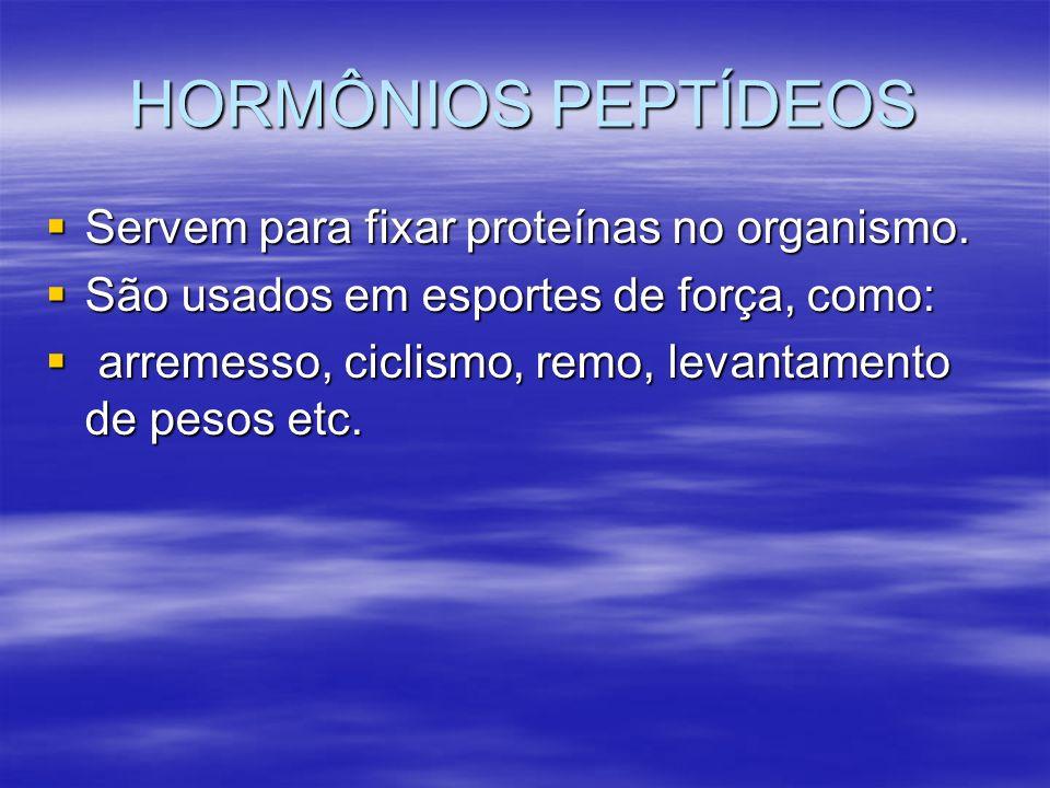 HORMÔNIOS PEPTÍDEOS Servem para fixar proteínas no organismo.