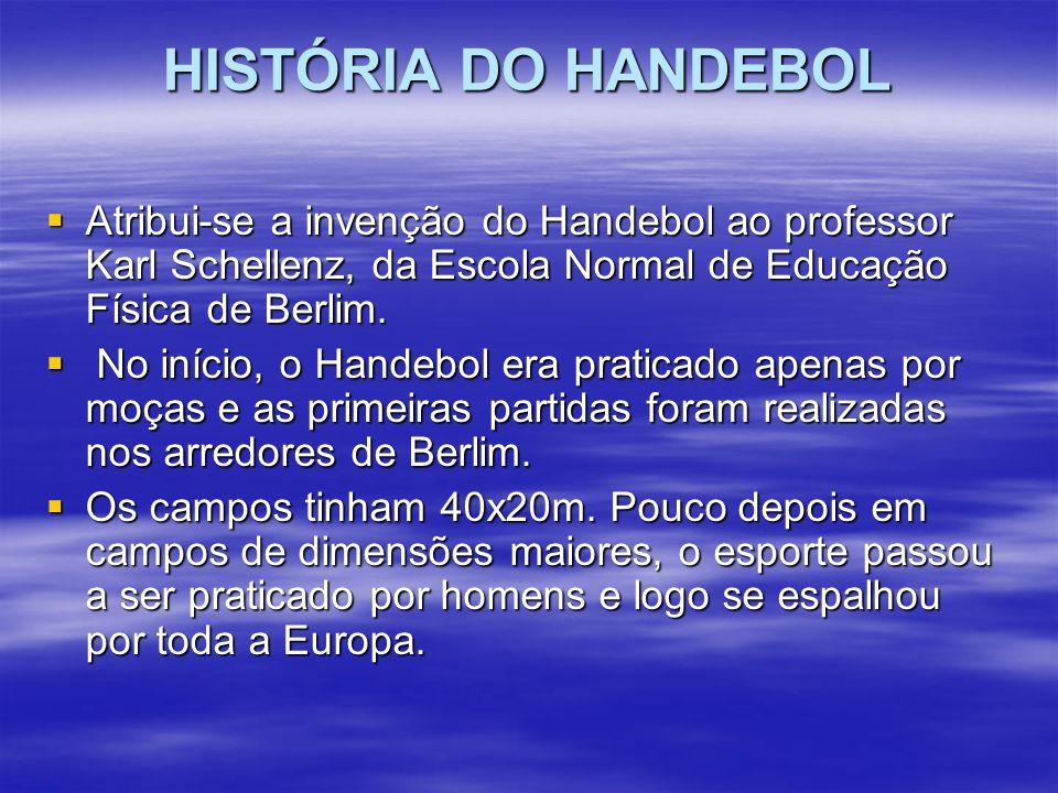 HISTÓRIA DO HANDEBOL Atribui-se a invenção do Handebol ao professor Karl Schellenz, da Escola Normal de Educação Física de Berlim.