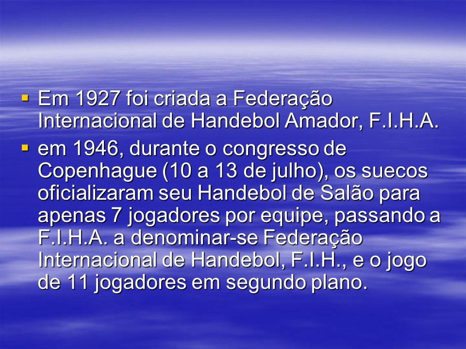 Em 1927 foi criada a Federação Internacional de Handebol Amador, F. I