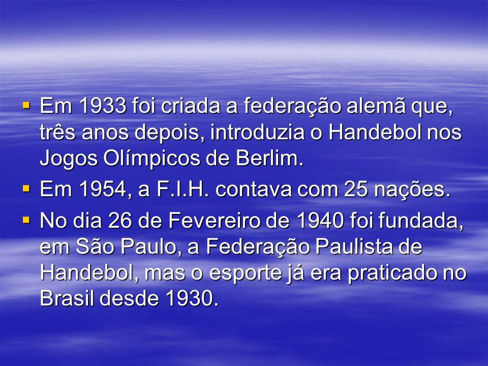 Em 1933 foi criada a federação alemã que, três anos depois, introduzia o Handebol nos Jogos Olímpicos de Berlim.