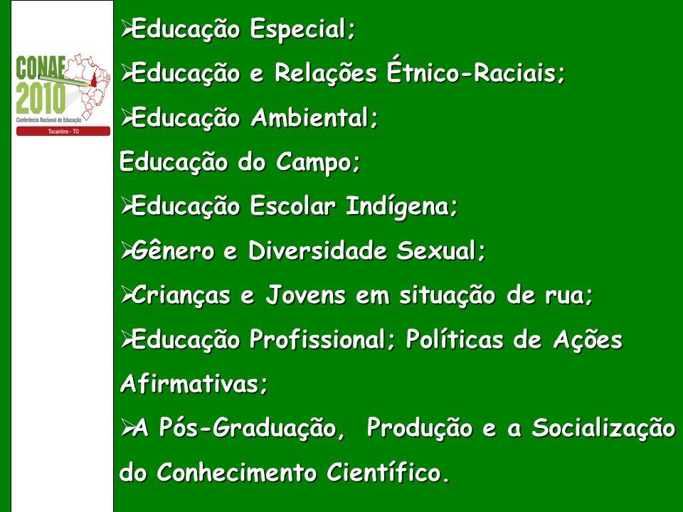 Educação Especial; Educação e Relações Étnico-Raciais; Educação Ambiental; Educação do Campo; Educação Escolar Indígena;