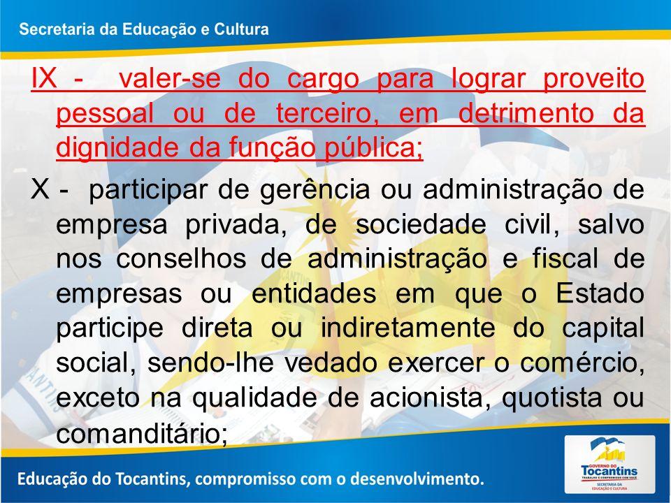 IX - valer-se do cargo para lograr proveito pessoal ou de terceiro, em detrimento da dignidade da função pública;