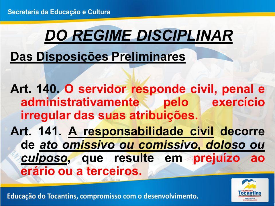 DO REGIME DISCIPLINAR Das Disposições Preliminares
