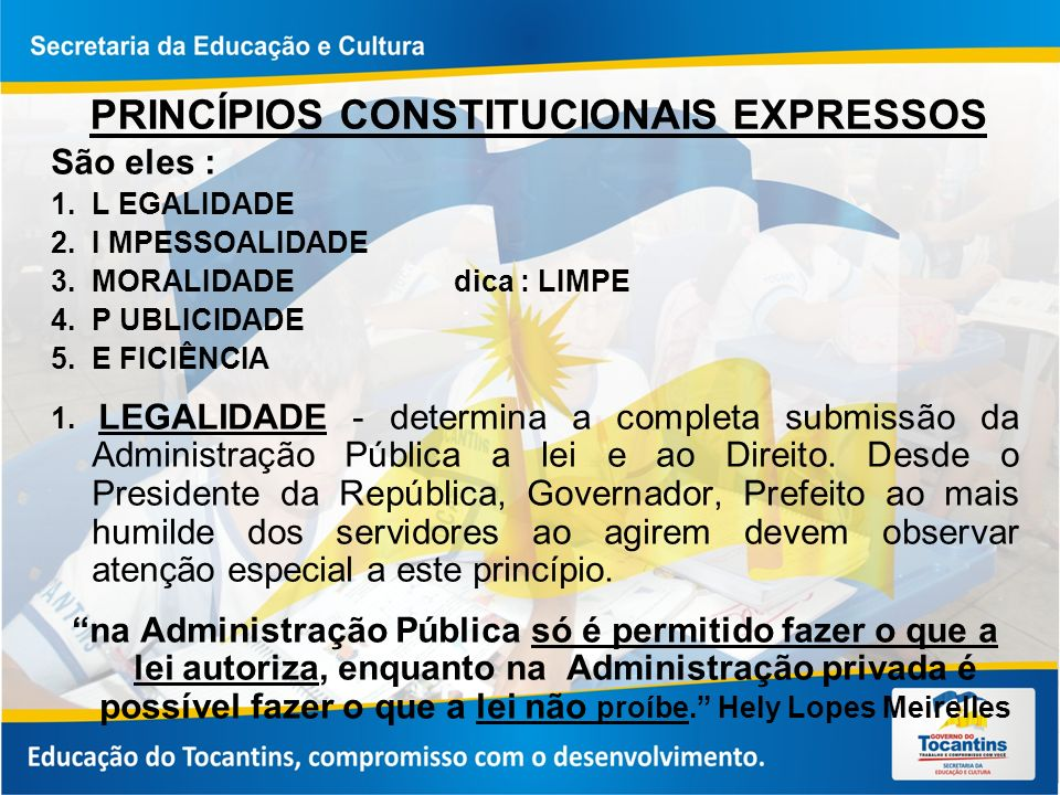 PRINCÍPIOS CONSTITUCIONAIS EXPRESSOS