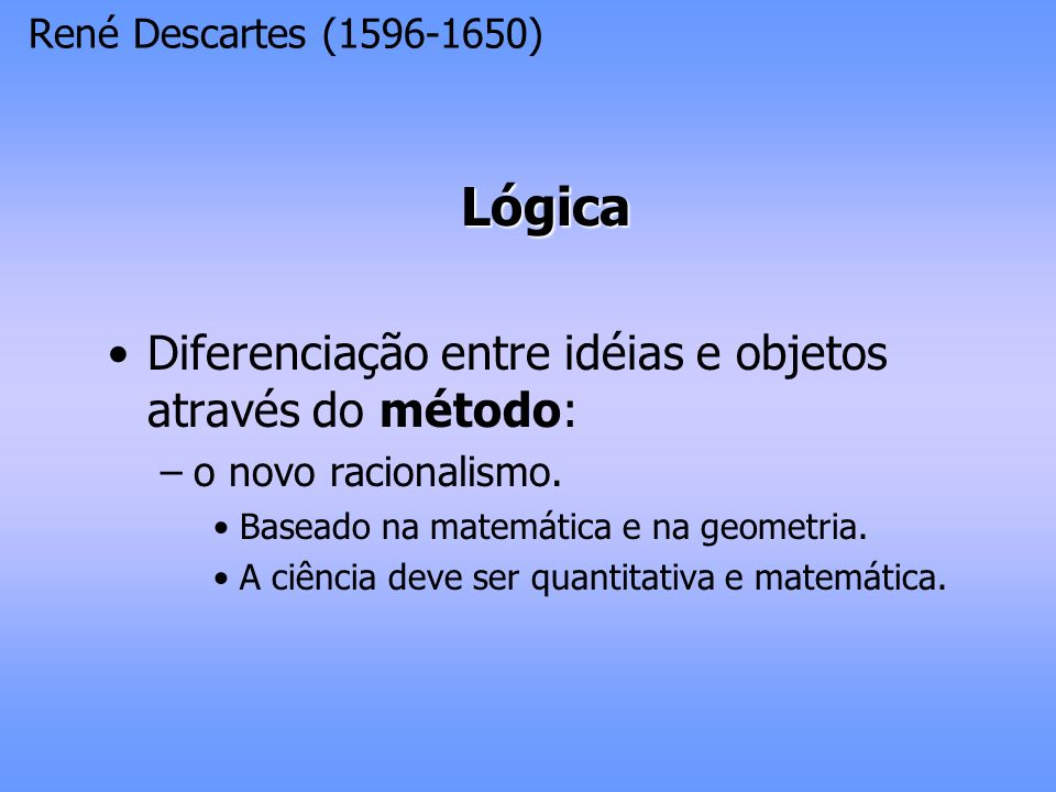 Lógica Diferenciação entre idéias e objetos através do método: