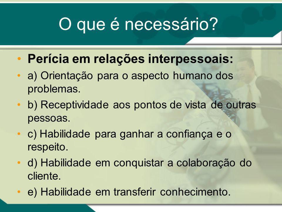 O que é necessário Perícia em relações interpessoais: