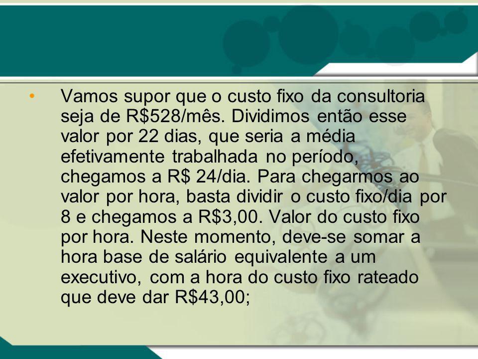 Vamos supor que o custo fixo da consultoria seja de R$528/mês