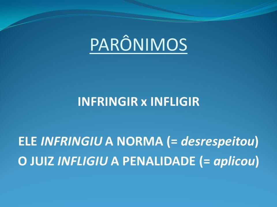 PARÔNIMOS INFRINGIR x INFLIGIR ELE INFRINGIU A NORMA (= desrespeitou)