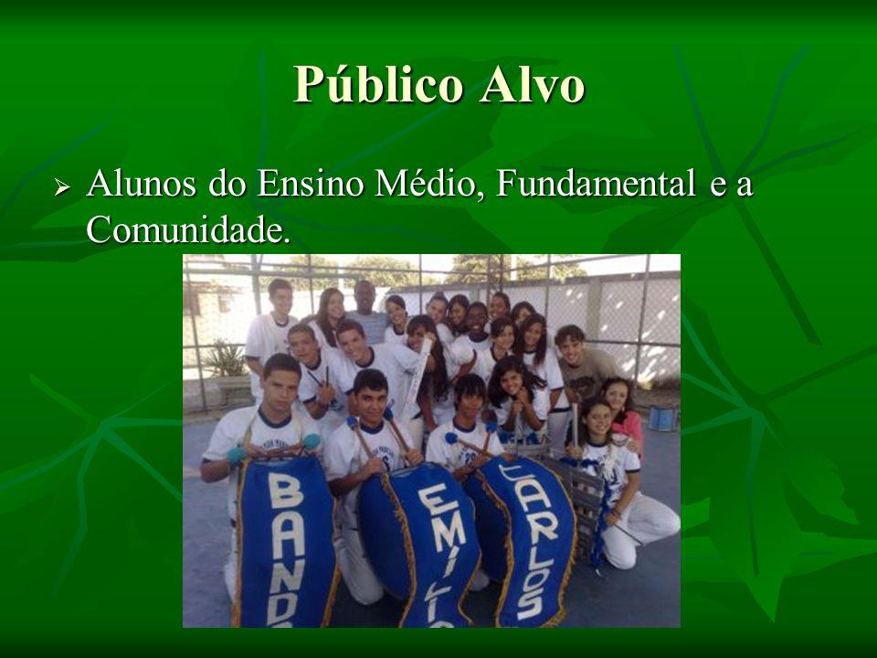 Público Alvo Alunos do Ensino Médio, Fundamental e a Comunidade.