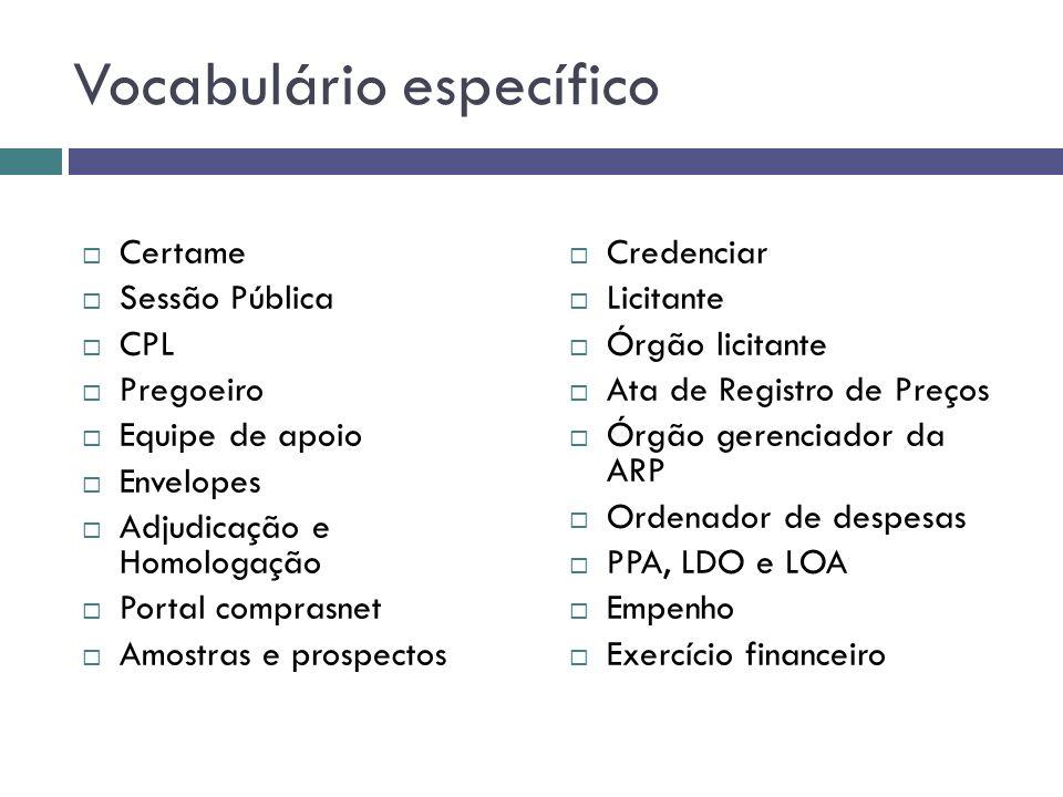 Vocabulário específico