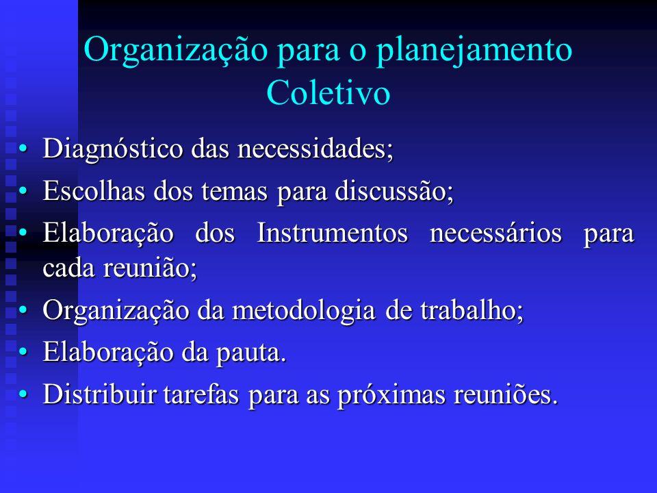 Organização para o planejamento Coletivo