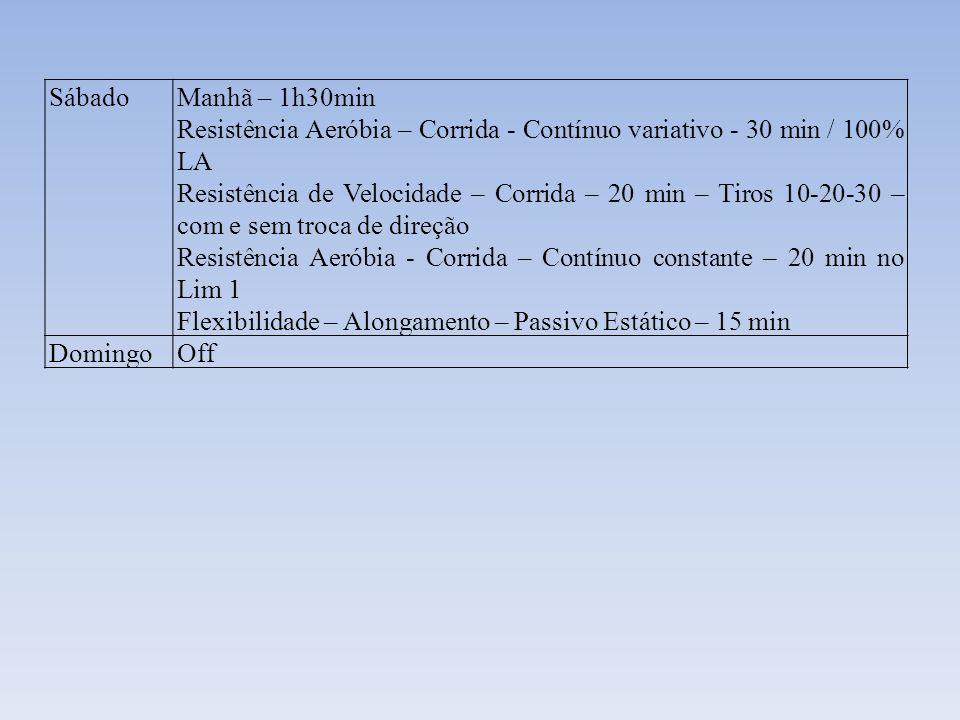 Sábado Manhã – 1h30min. Resistência Aeróbia – Corrida - Contínuo variativo - 30 min / 100% LA.