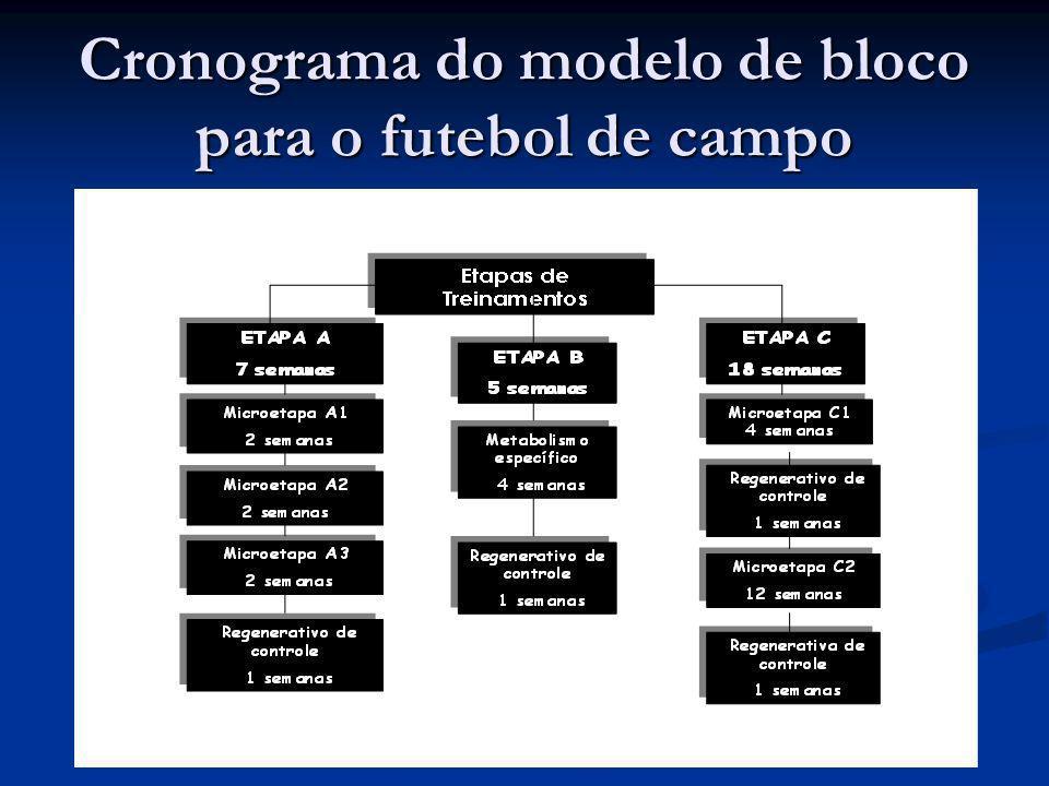 Cronograma do modelo de bloco para o futebol de campo