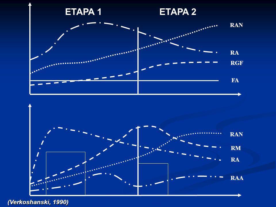 ETAPA 1 ETAPA 2 RAN RA RGF FA RAN RM RA RAA (Verkoshanski, 1990)