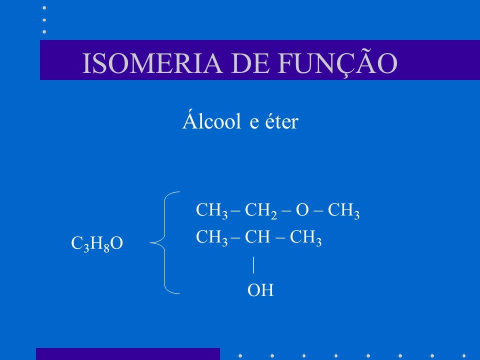 ISOMERIA DE FUNÇÃO Álcool e éter CH3 – CH2 – O – CH3 CH3 – CH – CH3 |