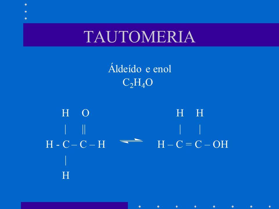 TAUTOMERIA Áldeído e enol C2H4O H O H H | || | |