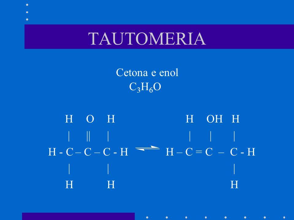 TAUTOMERIA Cetona e enol C3H6O H O H H OH H | || | | | |