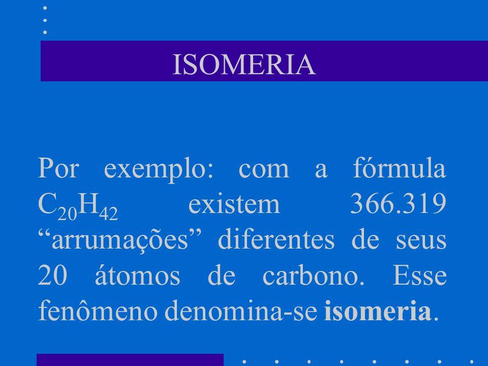 ISOMERIA Por exemplo: com a fórmula C20H42 existem 366.319 arrumações diferentes de seus 20 átomos de carbono.