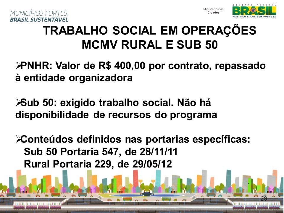 TRABALHO SOCIAL EM OPERAÇÕES MCMV RURAL E SUB 50