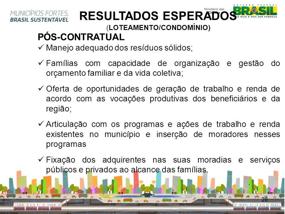 RESULTADOS ESPERADOS (LOTEAMENTO/CONDOMÍNIO)
