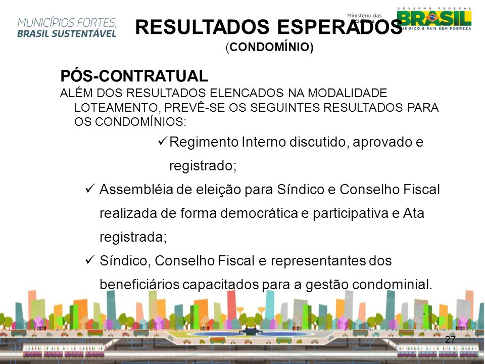 RESULTADOS ESPERADOS PÓS-CONTRATUAL