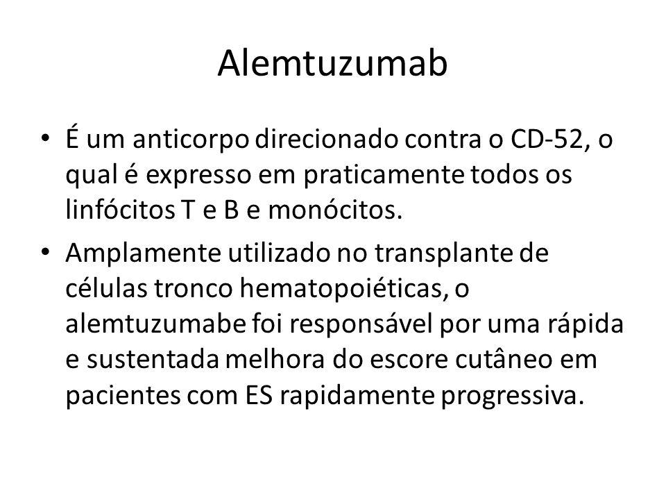 AlemtuzumabÉ um anticorpo direcionado contra o CD-52, o qual é expresso em praticamente todos os linfócitos T e B e monócitos.