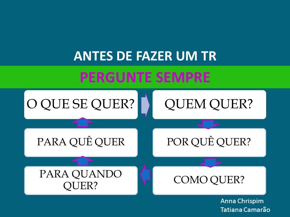 PERGUNTE SEMPRE ANTES DE FAZER UM TR Anna Chrispim Tatiana Camarão
