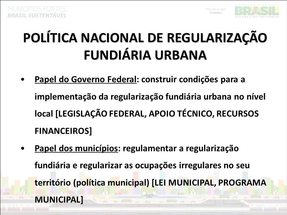 POLÍTICA NACIONAL DE REGULARIZAÇÃO FUNDIÁRIA URBANA