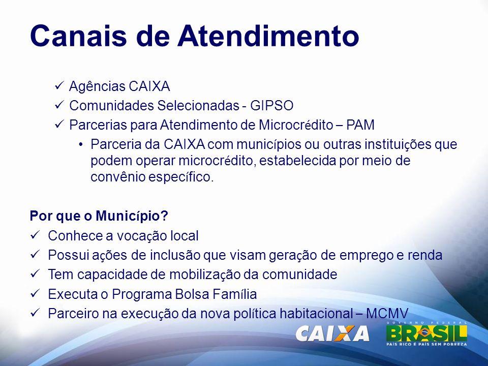 Canais de Atendimento Agências CAIXA Comunidades Selecionadas - GIPSO