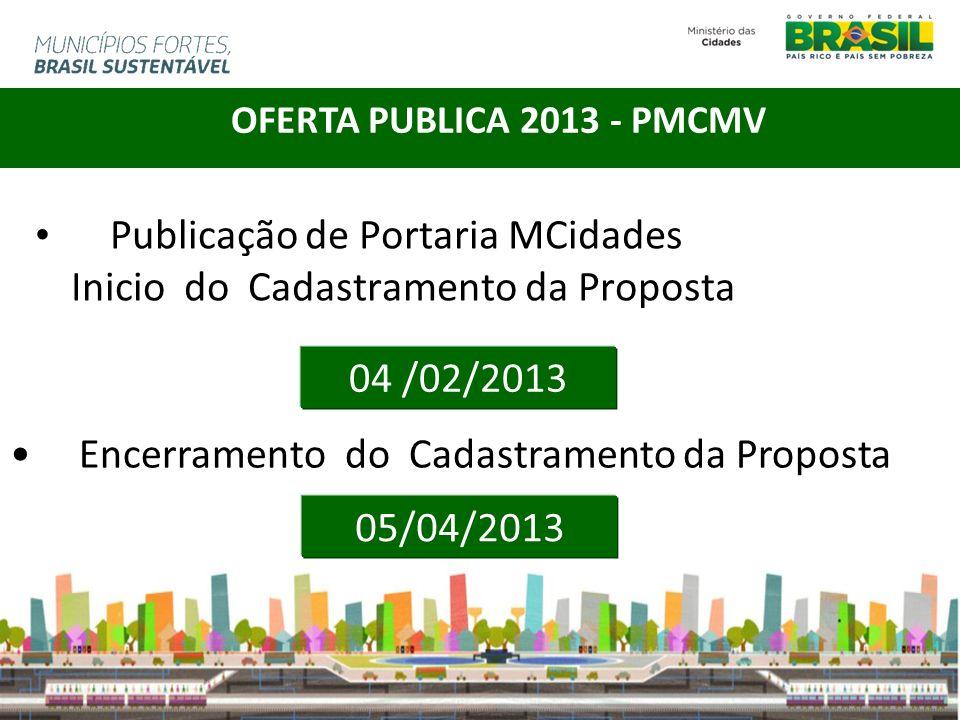 Publicação de Portaria MCidades Inicio do Cadastramento da Proposta