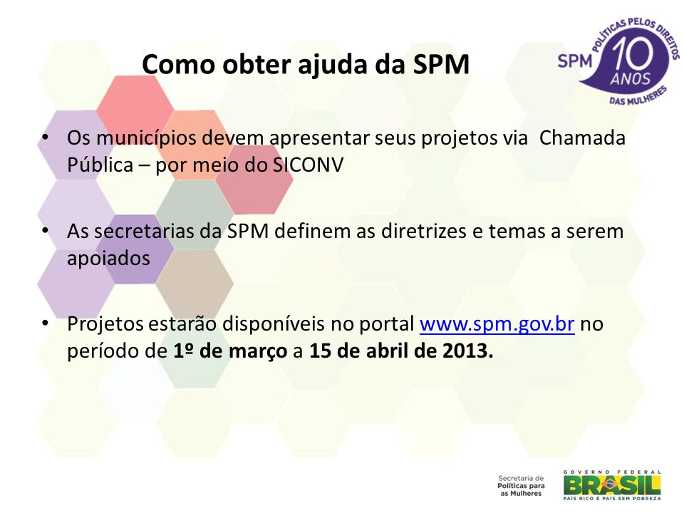 Como obter ajuda da SPM Os municípios devem apresentar seus projetos via Chamada Pública – por meio do SICONV.