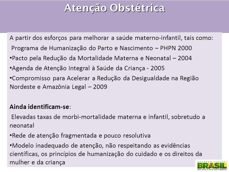 Atenção Obstétrica A partir dos esforços para melhorar a saúde materno-infantil, tais como: